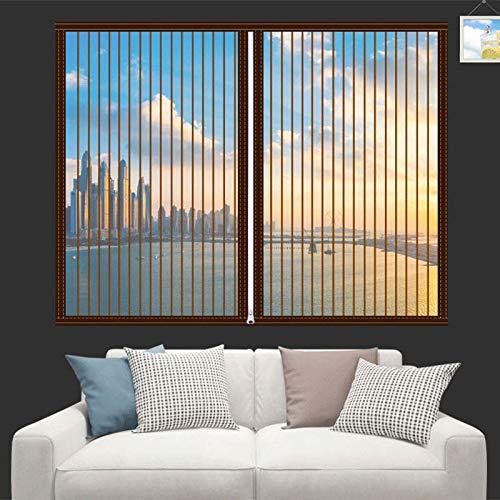 Domiss Magnetische Fliegenfenster Fenster, Magnet Vorhang Fliegenvorhang, Ohne Bohren für Balkontür und Terrasentür - 100x170cm