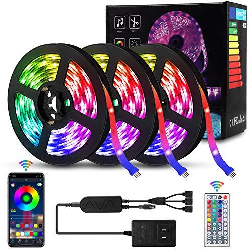 3 x 5M LED Streifen mit Bluetooth Smart APP Steuerung, Delicacy Musik Synchroner LED Strip, LED Lichtband Fernbedienung Streifen, Zuhause Schlafzimmer Bar Party Hochzeit Dekoration