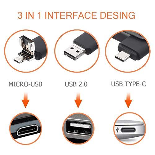 TEWENE Type-C 32GB USB Stick 3 in 1 OTG/USB 2.0 USB C Stick Flash Drive Speicherstick für Android Handy MacBook und PC (32GB, Schwarz)