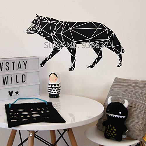 Jardin d'enfants Vinyle Amovible Sticker Mural géométrique Loup Autocollant Mural Chambre d'enfants décoratif Animal Art Autocollant Papier Peint 58x33 cm