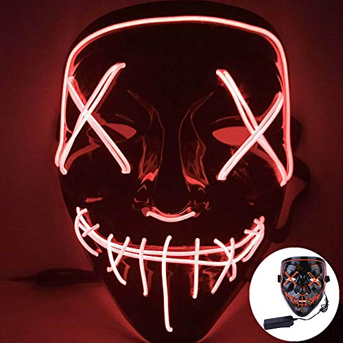 CICADAS LED Purge Maske,Halloween Maske mit 3 Blitzmodifür Fasching Karneval Party Kostüm Cosplay Dekoration (Rot)