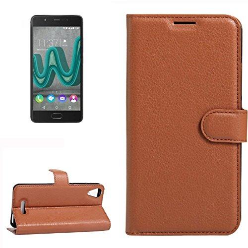 YUCPING Handyhülle Litchi Texture Horizontal Riff Ledertasche Mit Halter und Card Slots und Geldbörse for Wiko U Feel Go (Color : Brown)