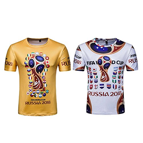 AFfeco 2018 Casual FIFA Russia World Cup Print Soccer Fans Tee T-Shirts Unisex