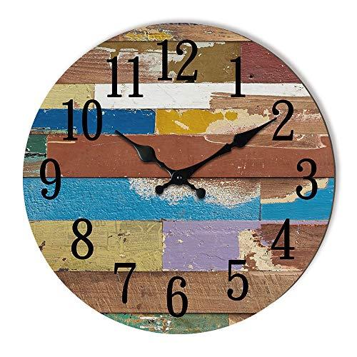 Reloj de pared vintage de madera, funciona con pilas, reloj de pared redondo para sala de estar, cocina, dormitorio, baño, escalera, decoración de pared de 30,48 cm, silencioso, sin garrapatas.