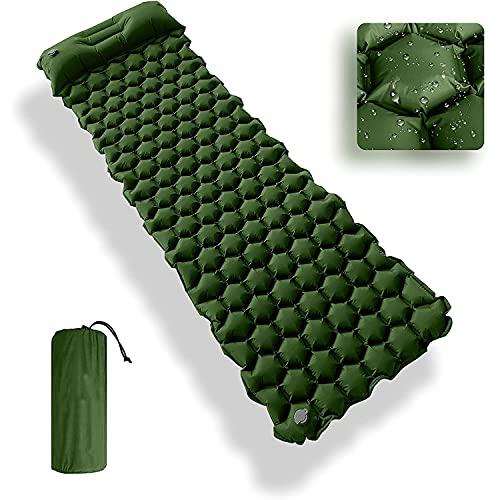 GREEN HAVEN Colchoneta de camping ultraligera con almohada de camping incorporada, colchoneta de dormir inflable impermeable para acampar, colchoneta de dormir para senderismo, camping y más (verde)