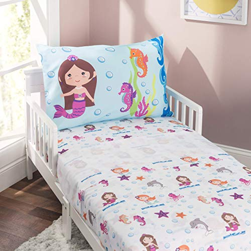 Everyday Kids 3-Piece Toddler Fitted Sheet, Flat Sheet and Pillowcase Set - Mermaids Undersea Adventures - Soft Breathable Microfiber Girls Toddler Sheets Set - Toddler Bed Sheets