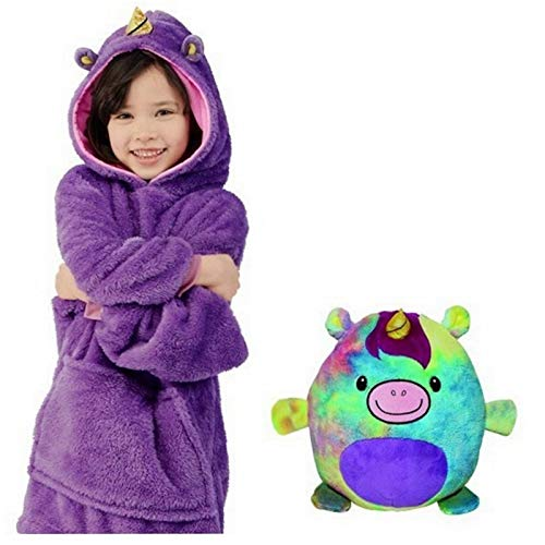 Neue Hoodie Decke Kinder, 2 in 1 Sweatshirt Decke und Kissen Tier süße warme Bequeme Plüsch Dicke TV-Sofa mit Kapuze Decken mit Ärmeln Robe Nachtwäsche für Kinder Mädchen Jungen ( Color : Lila )
