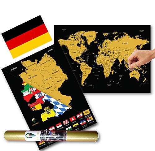 Global Walkabout DEUTSCH Europakarte zum Rubbeln - Kratzerkarte mit Flaggenhintergr& - Deluxe A3 WeltKratzerkarte Poster Länder & Fakten mit A3 Deutschland Kratzerkarte - Reisegeschenk (Black)