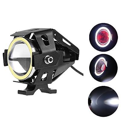 Lemonbest® Super Bright Motorcycle LED Headlight CREE U7 LED Fog Lamp DRL Spotlight Driving Daytime Light with Angel Eyes light Ring