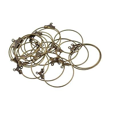 Baoblaze 20Pcs Wine Glass Charm Rings Earring Beading Hoop Loop Earring Earwire Hook for DIY Women Girls Earring Findings, 25mm
