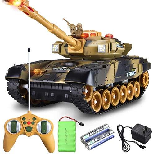 Mini RC Tank Toy 2.4GHz Radio Control Remoto Simulación Army Battle Kit Modelo USB con torreta giratoria Panzer Tank Sonido Retroceso Acción Cañón Disparos de artillería para niños Regalos (Caqui) i