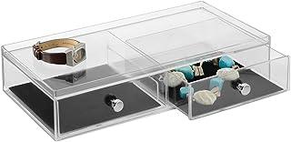 InterDesign Clarity Jewelry boîte à bijoux, bac plastique avec protection anti-rayure, coffret à bijoux à 2 tiroirs pour m...