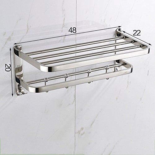 304 Porte-serviettes en acier inoxydable, Porte-serviettes mural Porte-serviettes avec crochet Conception (Installation de forage) /salle de bains (taille : 48cm)