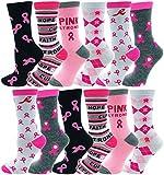12 Pairs of Womens Breast Cancer Awareness Socks, Pink Ribbon Soft Sport Sock Bulk Pack (12 Pairs Assorted (Crew))