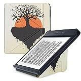 kwmobile Carcasa Compatible con Kobo Libra H2O - Funda magnética de Origami para e-Book - Árbol de la Vida Negro/Naranja/Beige