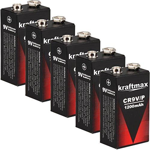 kraftmax 5X 9V Block Lithium Hochleistungs- Longlife Batterien für Rauchmelder/Feuermelder - 10 Jahre Batterie Lebensdauer