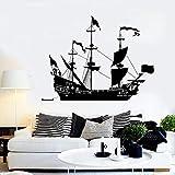 zqyjhkou 145 * 110 cm de Gran tamaño Barco Velero Vinilo Tatuajes de Pared Marinero Mar Estilo Decoración para el hogar Pegatinas de Pared para niño Dormitorio Único122x92cm