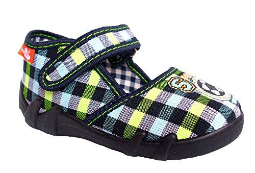 Renbut Baby Jungen Hausschuhe Sandalen Fußball Klettverschluss Einlegesohlen Leder Blau Grün Schuhgröße EUR 21