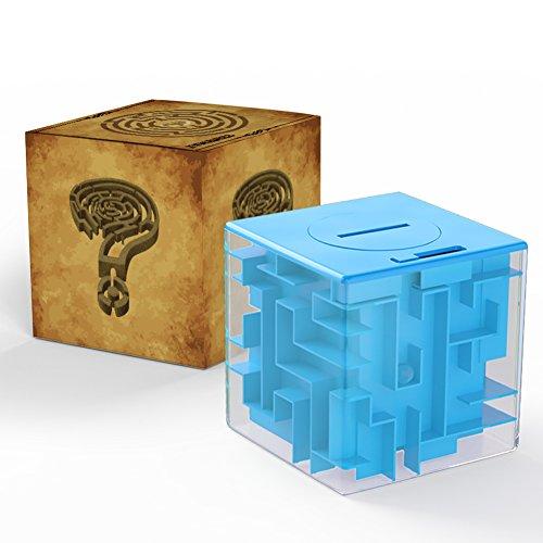 ThinkMax Money Maze, Put Cash Inside Puzzle Storage Box, Gran Regalo para niños y niños (Azul)