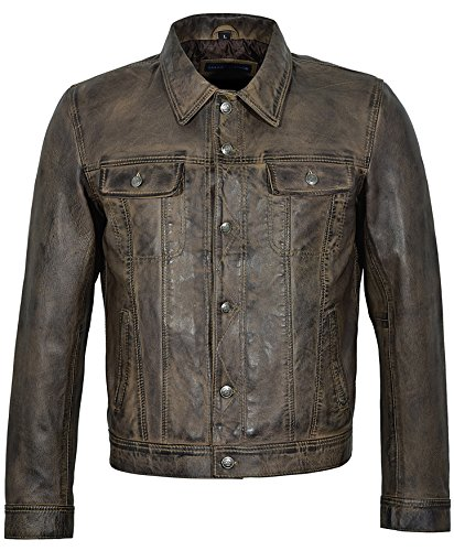 Trucker Men's 1280 Dirty Brown Classic Real Soft Genuine Lambskin Leather Jacket (L)