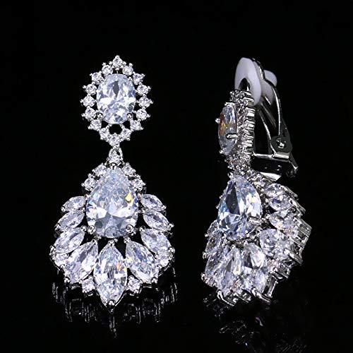 Dames Oorbellen Prachtige Zilveren Kleur Dangle DropZirconia Vrouwen Lange Clip-On Oorbellen Voor Oren Zonder Gaatjes