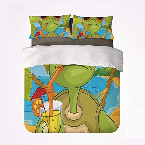 Juego de Funda nórdica Tortuga Cómodo Juego de 3 sábanas, Tortuga Marina Fresca con Gafas de Sol Bebiendo cóctel en la Playa Dibujos Animados para Hotel