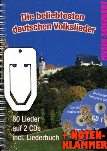 Die beliebtesten deutschen Volkslieder im Ringeinband (+2 CD's) inkl. praktischer Notenklammer - 80 Lieder zum Hören, Singen, Mitsingen, Musizieren für Gesang, Gitarre, Keyboard und Akkordeon (Ringbindung DIN A5) (Noten/Sheetmusic)