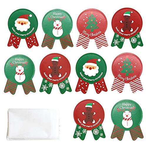 kungfu Mall 104PCS Navidad Pegatinas Navidad Sello Pegatinas Bolsas de Dulces,100 Piezas Bolsas de Galletas de Navidad para...