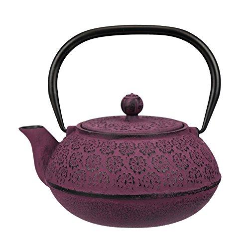 30 oz Cast Iron Teapot Enamel Lining W/Metal Infuser Tea Kettle,Purple