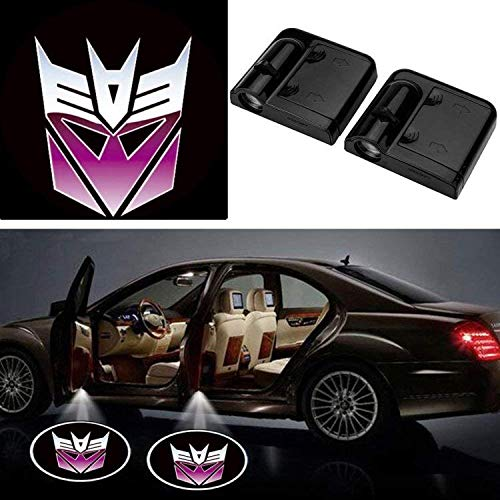 For Decepticons 3D Wireless Magnetic Car Door Step LED Welcome Logo Shadow Ghost Light Laser Projector Lamp (Purple Transformers Decepticons)
