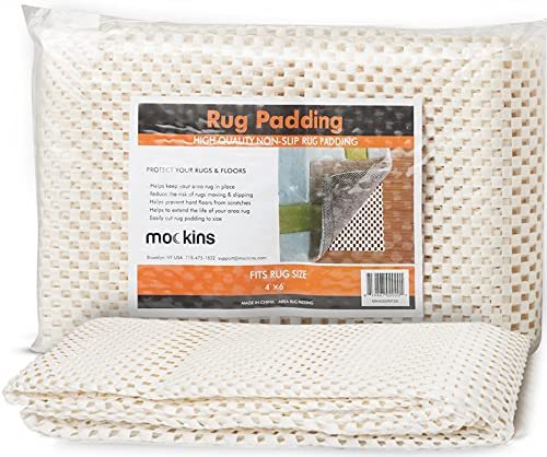Mockins Premium Grip and Non Slip Rug Pad 4 x 6 feet Area Rug Pad | Keeps Your Rugs in Place and Safe On Any Hard Floor or Hard Surfaces | Reversible and Customizable