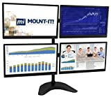 Mount-It! 4 Monitor Free Standing Mount | Quad Monitor Desk Stand | Arms Fit Four Computer Screens 19 20 21 22 23 24 25 26 27 Inches | Height Adjustable | VESA 75 100 Compatible | Black