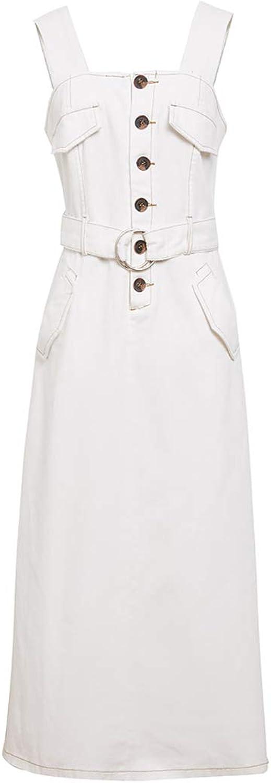 Cowgirl Dress, Long Spring and Summer Long Waist Strap Skirt, Belt Detachable Skirt Split Skirt White