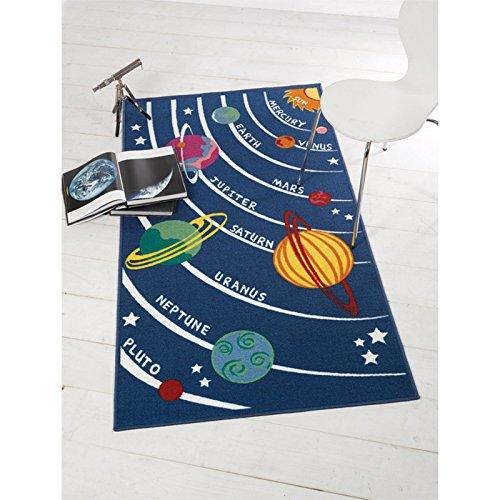 Just Contempo-Tappeto, Motivo: Pianeti e Stelle, per Bambini, Colore: Azzurro, 100 x 190 cm, Poliestere, Blu, 80 x 120 cm