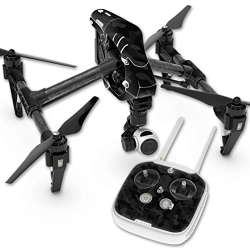 MightySkins Skin Compatible with DJI Inspire 1 Quadcopter Drone wrap Cover Sticker Skins Black Camo