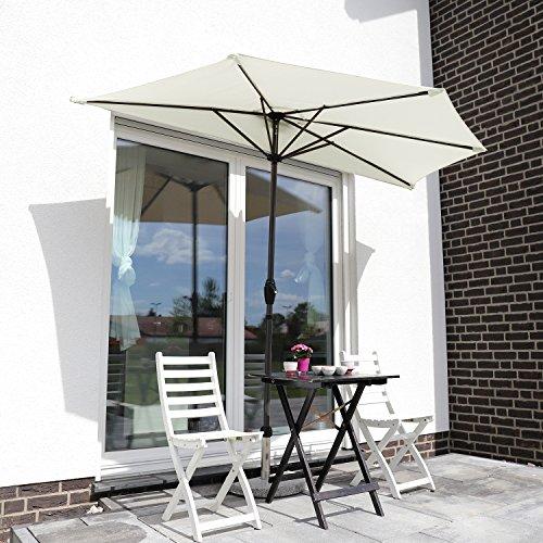Sekey 2.7m halbrundschirm Marktschirm, Sonnenschirm mit Kurbel und Klettbandverschluss für Garten, mit 5 Stahlverstrebungen, 100% Polyester (Creme), UV 50+
