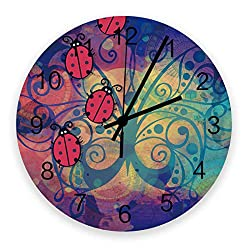 FAMILYDECOR 12 Inch Indoor/Outdoor Waterproof Wall Clock, Vintage Silent Non-Ticking Battery Operated Clock Home Classroom Conference Room Wall Decorative- Beetle with Butterfly Background