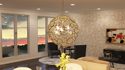 Varaluz 265P06ZG Fascination 6-Light Orb Pendant - Zen Gold Finish with Champagne Bottle Glass
