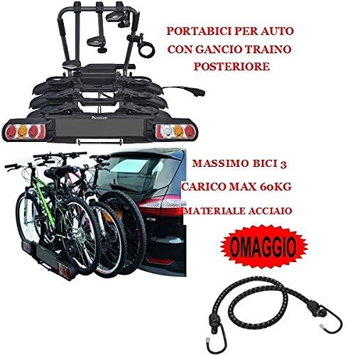 Compatible con lanza portabicicletas trasero para coche con gancho para remolque, porta bicicletas para 3 bicicletas con 3 compartimentos, carga máxima 60 kg, material acero homologado