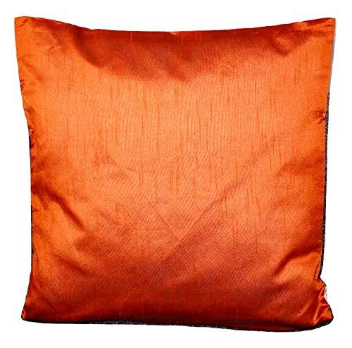 Basics Orange einfarbig Kissenbezug mit unsichtbarer Reißverschluss, 100% weiche Dupionseide Kissenhülle für Sofa & Bett Kissen - 40 cm x 40 cm - RD9