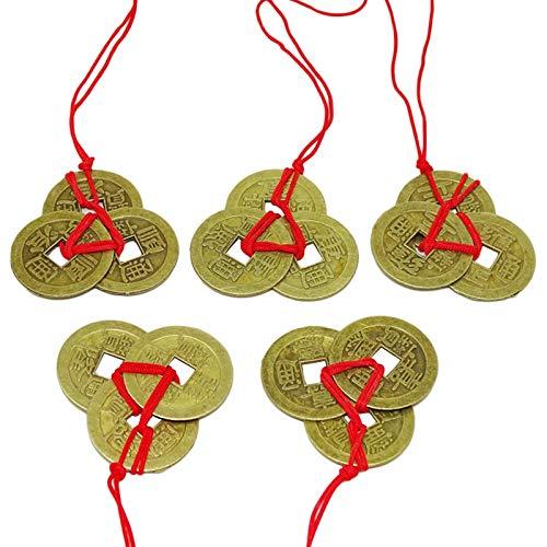 POHOVE 5Sets Monedas de la Fortuna China Feng Shui Monedas I-Ching Monedas Tradicionales Con Cadena Roja Nudo Chino Monedas de la Suerte Riqueza Salud Éxito A Amigos Amante De la Familia