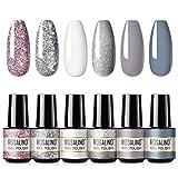 ROSALIND White Glitter Gel Nail Polish 6pcs,Nail Art Design Decoration Soak Off Nail Gel Set