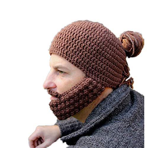 WSJDE Novetly Herren Bart Braid Perücke Mütze mit Maske Halloween Party Geschenk 100% handgemachte Strickmütze Brown