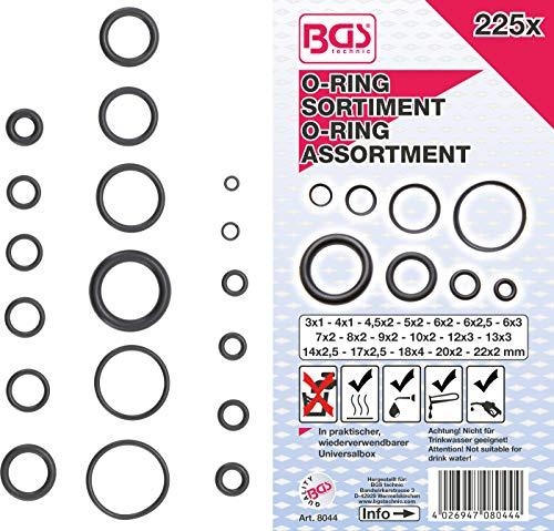 BGS 8044 | O-Ring-Sortiment | 225-tlg. | Ø 3 - 22 mm| aus NBR gefertigt | inkl. Sortimentskasten