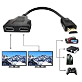 HDMI Splitter Adapter, HDMI Male to 2 HDMI Female Splitter Cable for HDTV, LCD Monitor and Projectors, 1080P Dual HDMI Adapter 1 to 2 Way (12.2inch, Black)