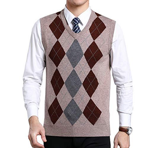 Moren Herren Pullunder Lässig Trachtenweste Muster Herbst Winter V-Ausschnitt Weste Strickweste Gitter Wollweste für Männer