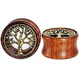 Oasis Plus Tree of Life Organic Wood Flesh Tunnels Double Flared Ear Stretcher Saddle Plugs Gauge 12mm 1/2'