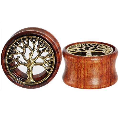 Plug para oreja de Oasis Plus, árbol de la vida, madera orgánica, con rebordes doble, dilatador de oreja, de 8a20mm