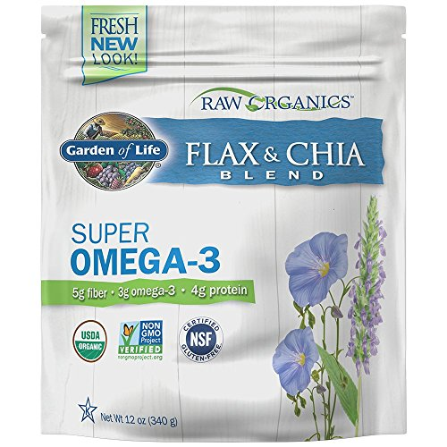 Garden of Life Raw Organic Flax Seed Meal with Chia Seeds - Flaxseed with Omega 3, Lignan and Polyphenol, 12 oz Pouch