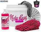 detailmate Einhorn Autowasch Set: Nuke Guys Girl Edition Wascheimer + GritGuard schwarz + Liquid Elements Unicorn Car Shampoo 1L + Mikrofiber Monkey Trockentuch + Griff pink + 83metoo Duft Eimer